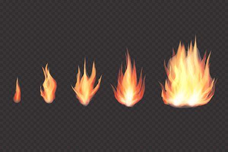 透明なリアルな炎、焚き火セット  イラスト・ベクター素材