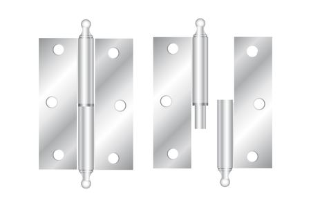 steel industry: Realistic hinges stainless steel icon. Vector illustration.