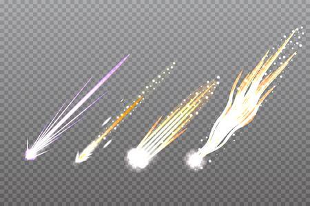 Meteor,Comet or rocket trails. Vector illustration.