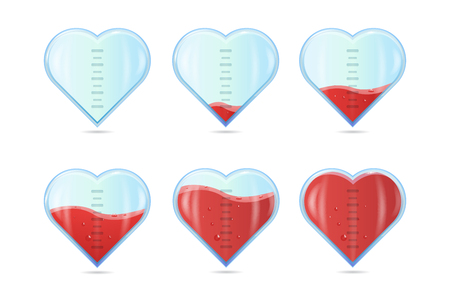 Heart rating, Love meter or gauge icon for Valentine's day card. Vector illustration. Ilustracja