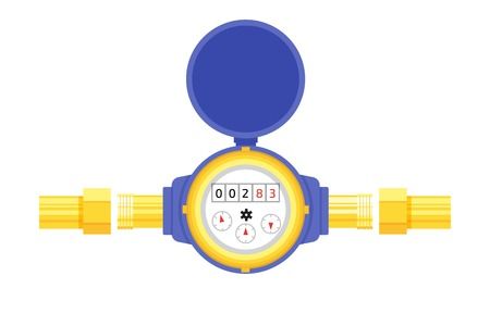 Analog water meter vector icon illustration in flat style. Sanitary equipment