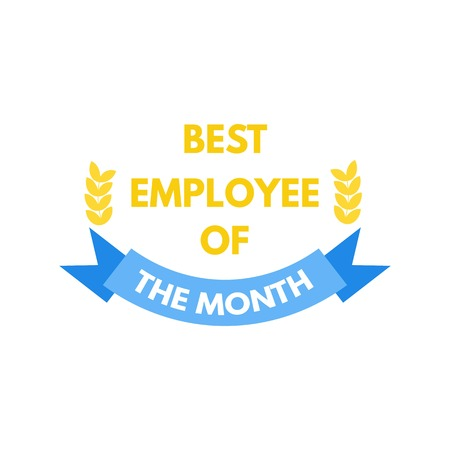 red ribbon week: Employee of the month label. Vector illustration.