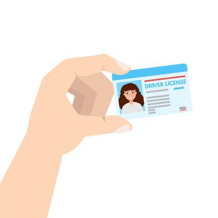 Mano que sostiene la licencia de conducir de coche o cadr de identificación. Ilustración del vector