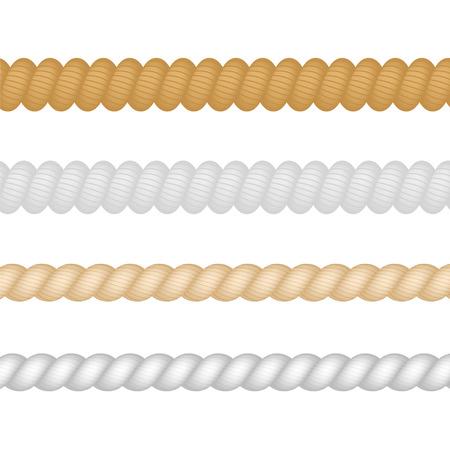 Nautical, marine, naval, Twine Thickness Rope Set Isolated. Vector illustration. Illustration