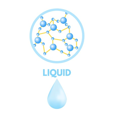 Matter in Different states. Liquid. Vector illustration.