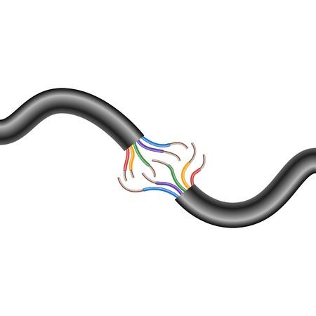 Five-core Electric cable break. Vector illustration.