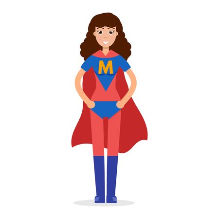 Mather superheroes. Super mom character. Vector illustration.
