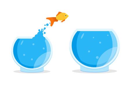 goldfish jump: Goldfish jumping out of bowl, aquarium. Vector illustration