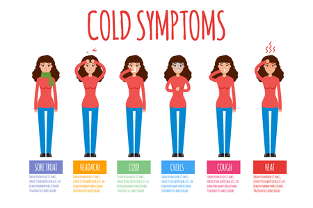 common cold: Cold, grippe, flu or seasonal influenza common symptoms infographic. Vector illustration. Illustration