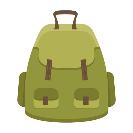 sleeping bags: Tourist backpack or hike bags, knapsacks icon. Vector illustration, flat design.