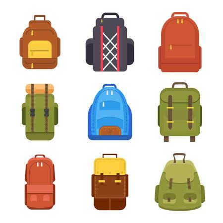 Tourist backpack or hike bags and knapsacks colorful icons set. Vector illustration. Illustration