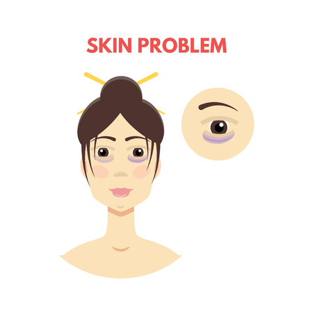 Woman with skin problem. Vector illustration Иллюстрация
