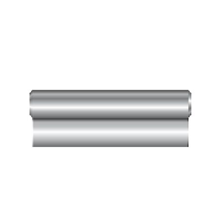 tin: Realistic roll of aluminium foil, icon. Vector illustration.