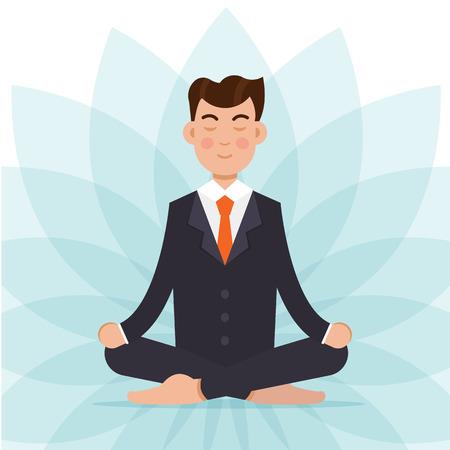 Office worker  meditating, sitting in lotus pose.  Businessman meditation concept. Vector illustration. Illustration