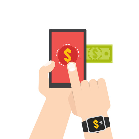mobile marketing: Mobile payment, e banking, Online payment use smartphone transfer concept. Flat style. Vector illustration