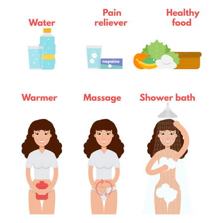 Menstrual pain icons set. Period treatment concept. Vector illustration. Illustration