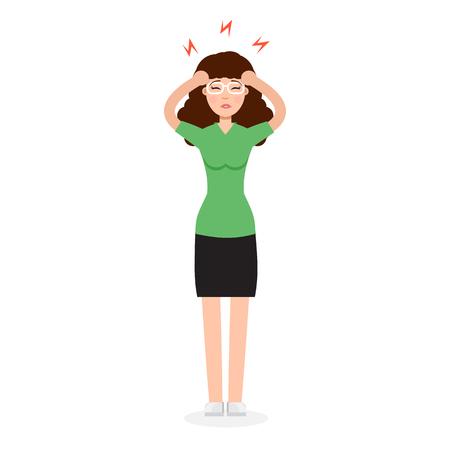 Chica con dolor de cabeza Concepto de hipertensión arterial Ilustración vectorial Foto de archivo - 87536045