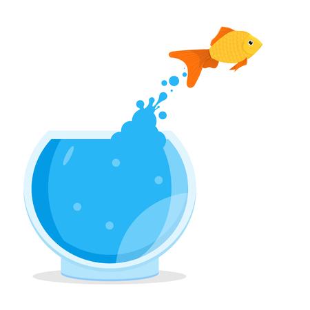 Goldfish jumping out of bowl, aquarium. Vector illustration