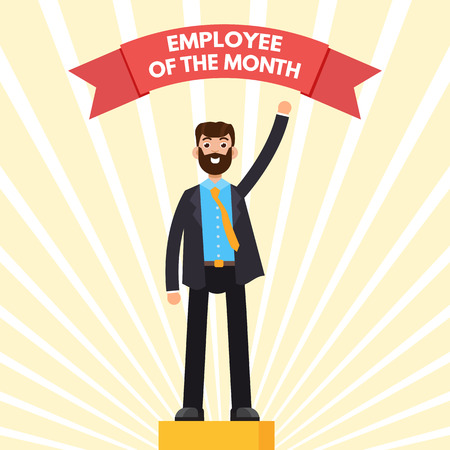 Employee of the Month character on winner podium.