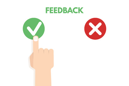 opinion: Customer review. Positive and negative feedback concept. Vector illustration Illustration