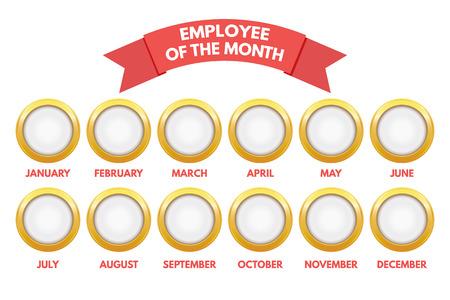 白い背景の上の月間予定表の従業員。  イラスト・ベクター素材