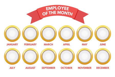 Employee of the month calendar on white background. 向量圖像