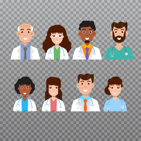 male symbol: Doctor avatar, Medical staff icons. Vector illustration