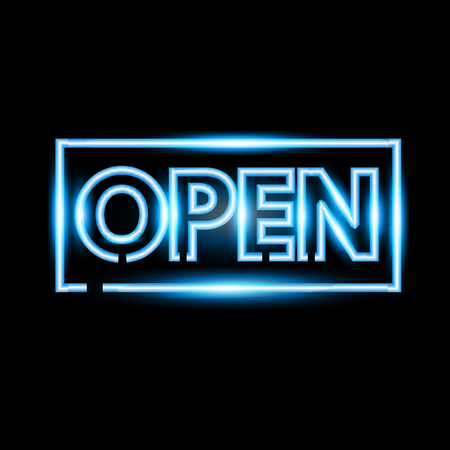 pink and black: Realistic open neon sign banner. Vector illustration.