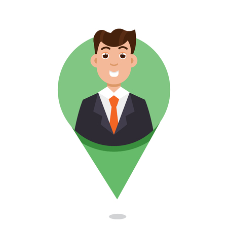 Mapping Pin character emotion. Vector illustration Illustration
