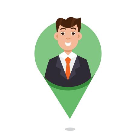 Mapping Pin character emotion. Vector illustration Illustration