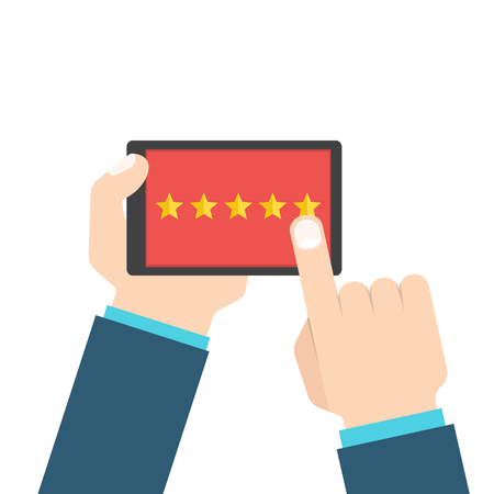 mobile marketing: Customer review or feedback concept. Rating system on smart phone. Vector illustration, flat style.