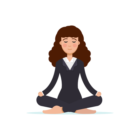 Office worker  meditating, sitting in lotus pose.  Business Woman meditation concept. Vector illustration.