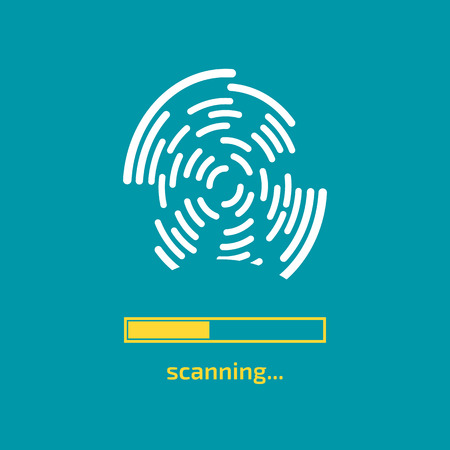 Unlocked with fingerprint button. Access via finger. User authorization consept. Vector illustration.
