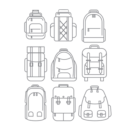 lineart: Hiking, school, casual Backpacks or rucksacks in thin line design icon set.Vector illustration.