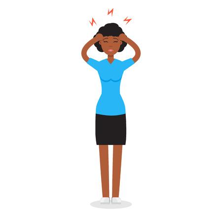 Headache girl. High blood pressure concept. Vector illustration.