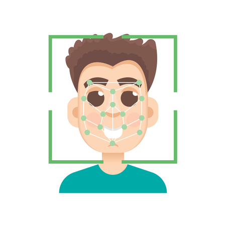 Biometric security identification, face recognition system concept. Vector illustration.
