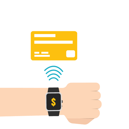 mobile marketing: Mobile payment, e banking, Online payment use smartwatch transfer concept. Flat style. Vector illustration