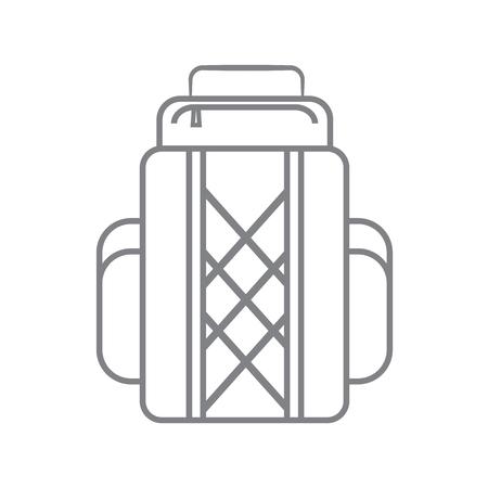 Tourist backpack or hike bags, knapsacks linear icon. Vector illustration, flat design. Illustration