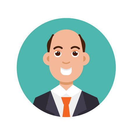 Bald-headed man. Character vector illusrtation, flat style.