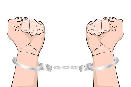 Shackled Hands in handcuffs. .Man in jail prisoner. Vector illustration