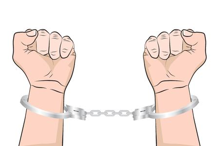Shackled Hands in handcuffs. .Man in jail prisoner. Vector illustration