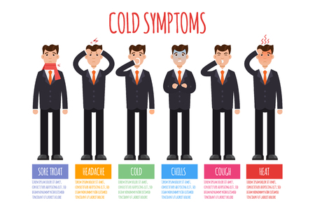 Cold, grippe, flu or seasonal influenza common symptoms infographic. Vector illustration. Иллюстрация