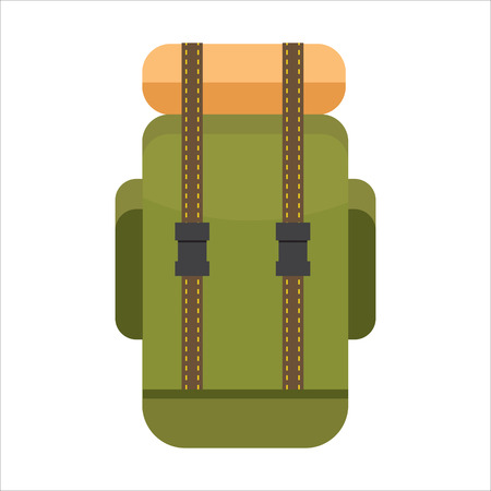 Tourist backpack or hike bags, knapsacks icon. Vector illustration, flat design.