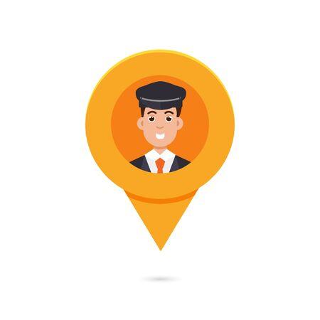 Indicador del mapa del perno del taxi con la ilustración del vector del limo, del taxista o del taxista del avatar. Vectores