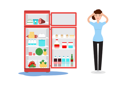Broken fridge and sad woman Vector illustration.