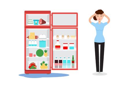 Refrigerado refrigerador y mujer triste Ilustración vectorial. Ilustración de vector