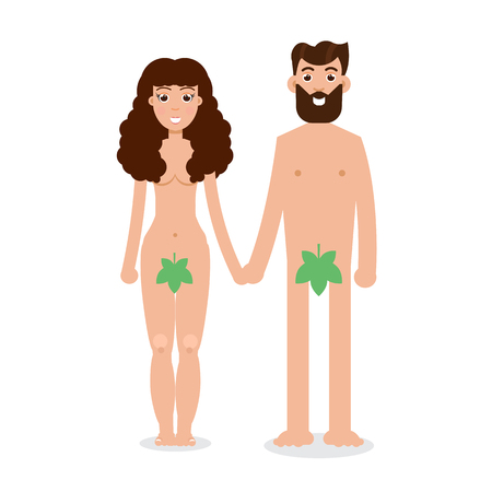 Adam and Eve cartoon character in flat style Vector illustration.