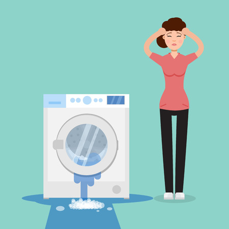 Broken washing machine and sad woman beside it Vector illustration.