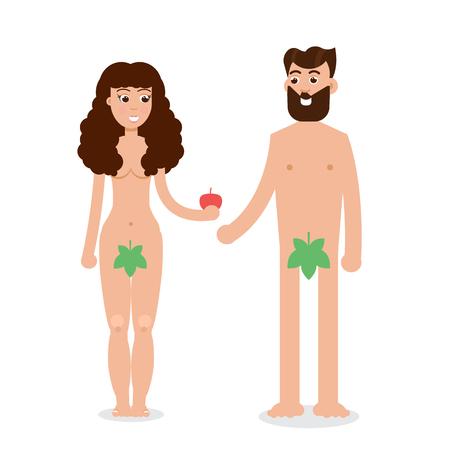 Adam en Eve-beeldverhaalkarakter in vlakke stijl Vectorillustratie.