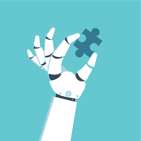 Robot Hand holding puzzle Vector illustration in flat style